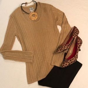 Chico's gold scoop neck sweater